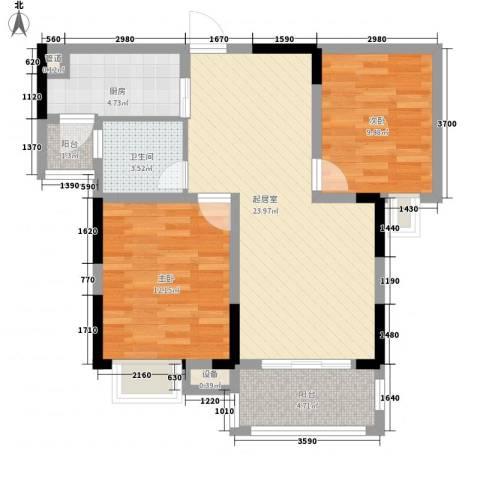 香堤澜湾二期爱琴岛2室0厅1卫1厨91.00㎡户型图