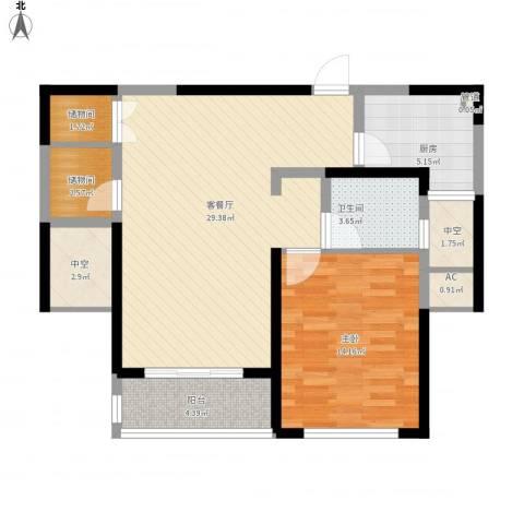 康桥半岛秀溪公寓1室1厅1卫1厨98.00㎡户型图