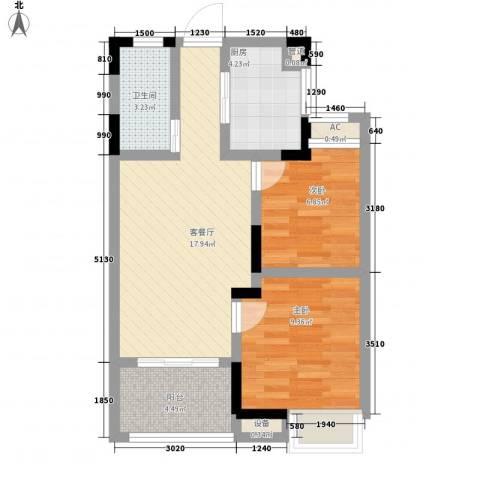 香堤澜湾二期爱琴岛2室1厅1卫1厨71.00㎡户型图
