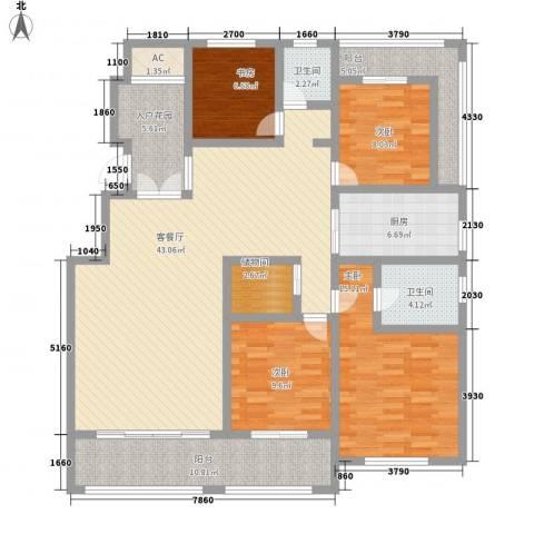 香堤澜湾二期爱琴岛4室1厅2卫1厨178.00㎡户型图