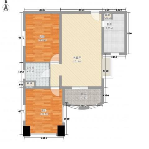 静安国际广场公寓2室1厅1卫1厨102.00㎡户型图