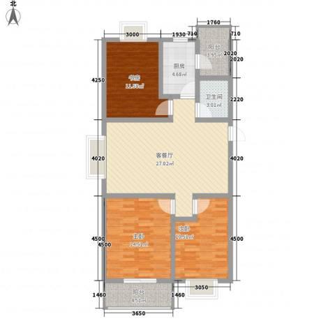 滹沱河小区澜庭3室1厅1卫1厨106.00㎡户型图
