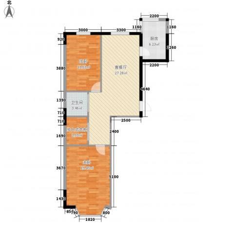 翰林文化广场2室1厅1卫1厨93.00㎡户型图