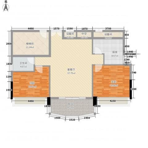 瑞丽花园2室1厅1卫1厨148.00㎡户型图