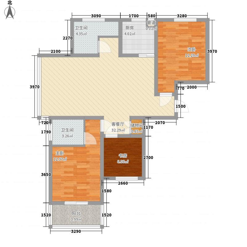江城首邑113.64㎡A户型3室2厅2卫1厨
