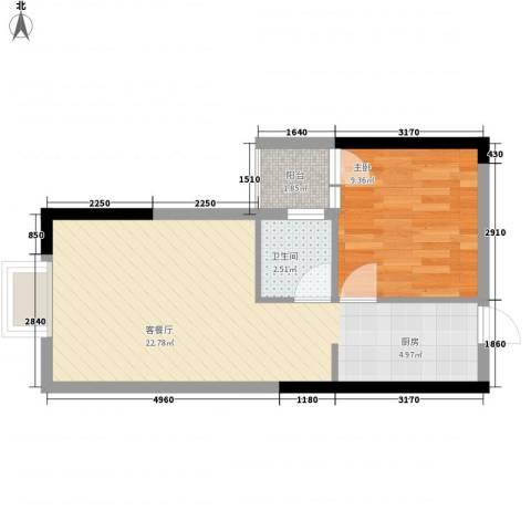 鑫泰丽都中央公馆1室1厅1卫0厨52.00㎡户型图