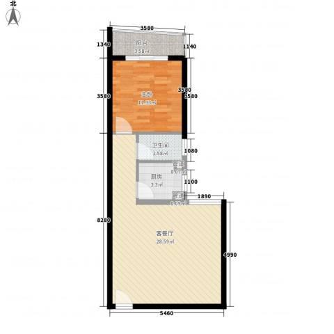 天心电子世界大厦1室1厅1卫1厨56.20㎡户型图