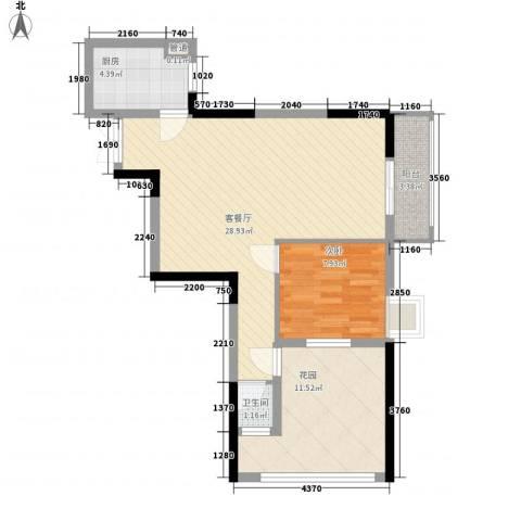 鑫泰丽都中央公馆1室1厅1卫1厨83.00㎡户型图