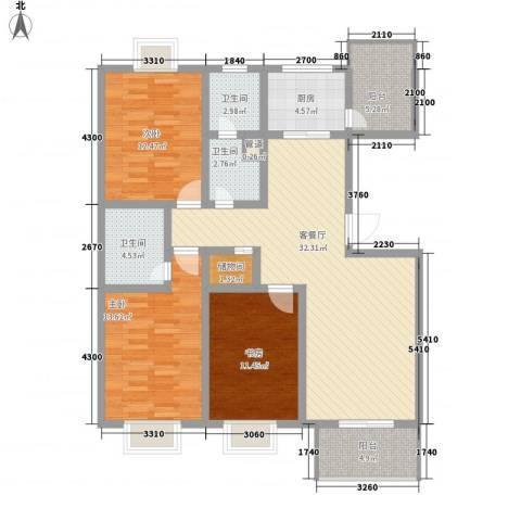 滹沱河小区澜庭3室1厅3卫1厨130.00㎡户型图