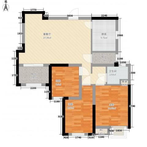 绿地香颂3室1厅1卫1厨98.00㎡户型图