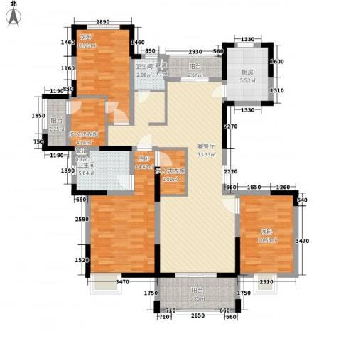 绿地香颂3室1厅2卫1厨145.00㎡户型图