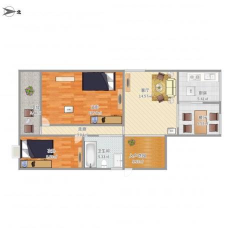 红棉苑一座6052室2厅1卫1厨99.00㎡户型图