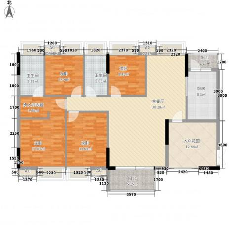 保利壹号公馆4室1厅2卫1厨140.00㎡户型图