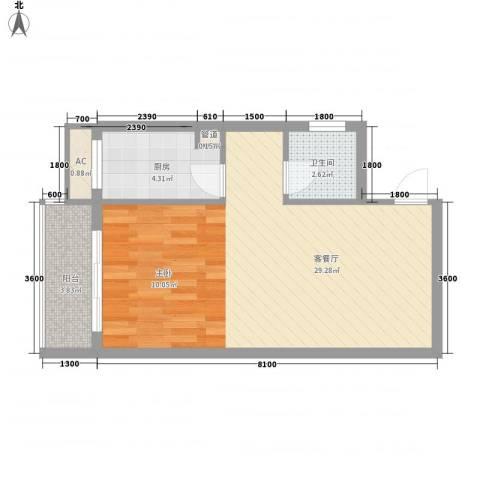 天翔城市公馆1厅1卫1厨58.00㎡户型图