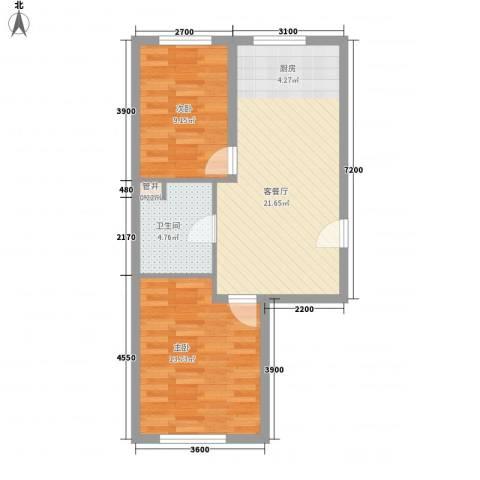 德胜小区2室1厅1卫0厨55.80㎡户型图