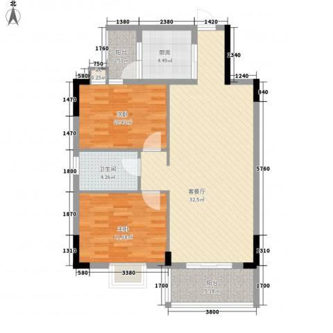 银丰花园2室1厅1卫1厨89.00㎡户型图