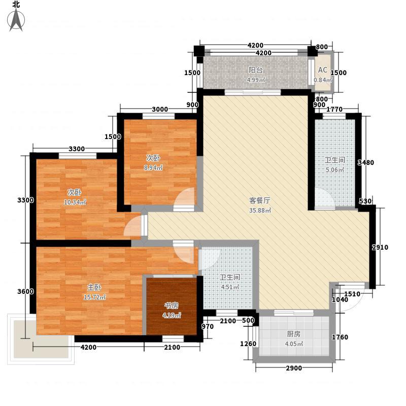 交大桃海花园A户型:四房两厅两卫,137.85平米_调整大小户型4室2厅2卫1厨