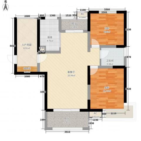 高速滨湖时代广场2室1厅1卫1厨105.00㎡户型图