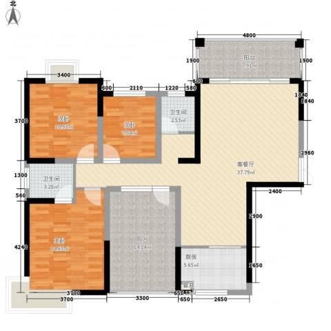 金霞湘绣园3室1厅2卫1厨130.00㎡户型图