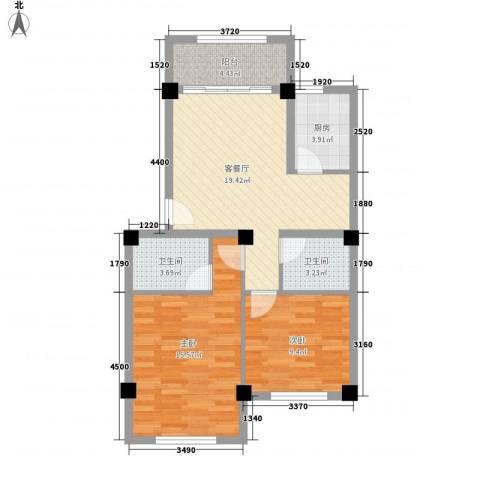 明天世纪广场2室1厅2卫1厨86.00㎡户型图
