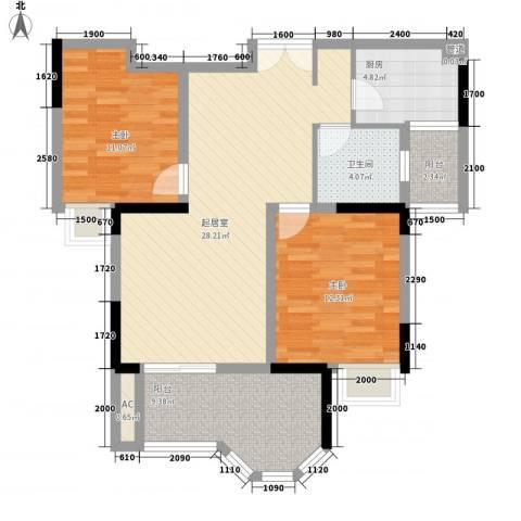 奥林匹克花园2室0厅1卫1厨97.00㎡户型图
