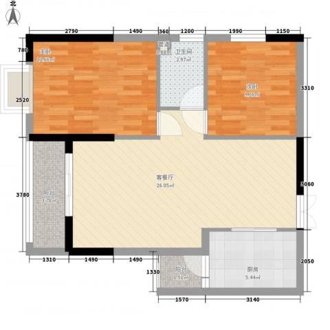 鑫泰丽都中央公馆2室1厅1卫1厨89.00㎡户型图