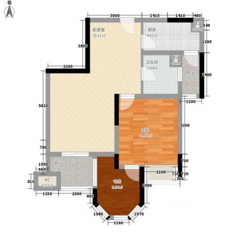奥林匹克花园2室0厅1卫1厨76.00㎡户型图