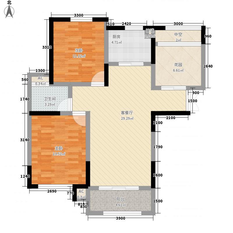 奥林匹克花园102.00㎡4期5、6号楼WG2户型2室2厅1卫
