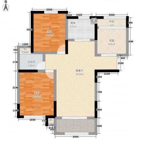 奥林匹克花园2室1厅1卫1厨102.00㎡户型图