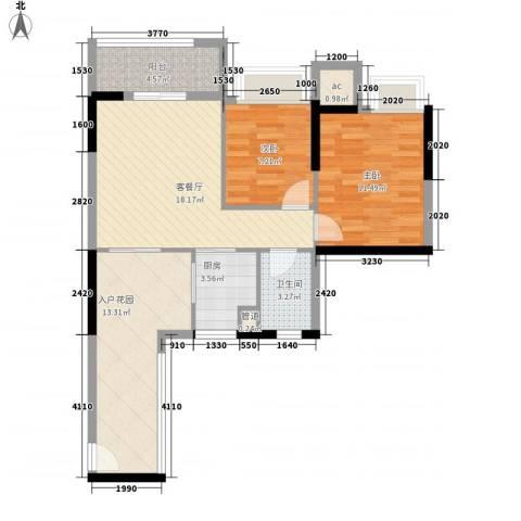 星星华园国际2室1厅1卫1厨77.00㎡户型图