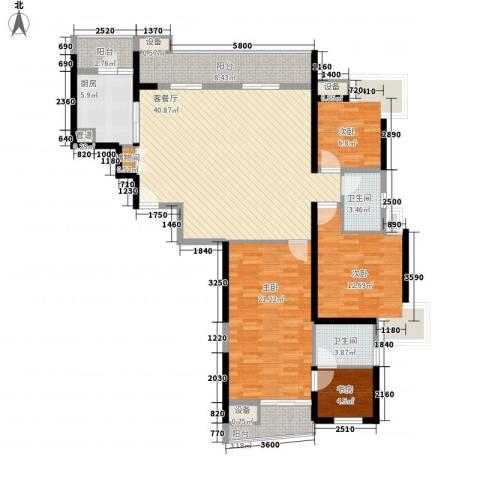 金地荔湖城4室1厅2卫1厨150.00㎡户型图