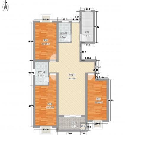 香水湾3室1厅2卫1厨124.00㎡户型图