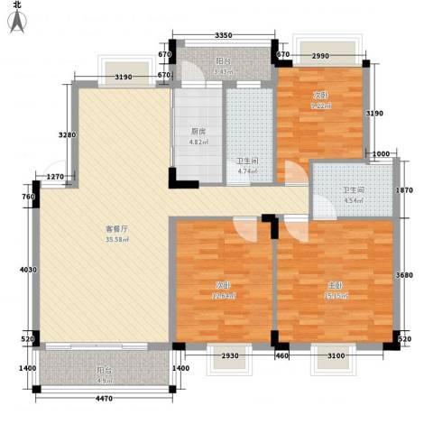 广东街3室1厅2卫1厨108.00㎡户型图