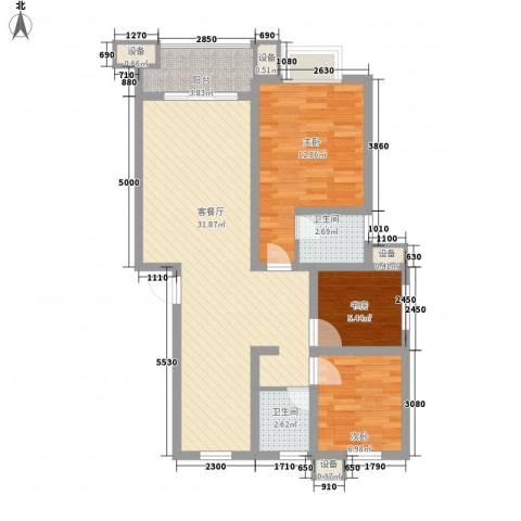 舜江碧水豪园3室1厅2卫0厨80.00㎡户型图
