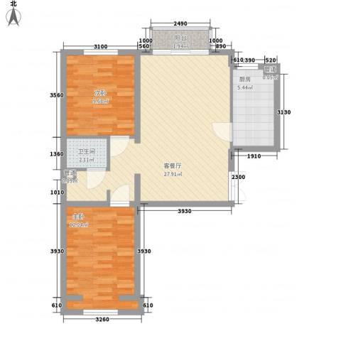 丽都壹号2室1厅1卫1厨84.00㎡户型图