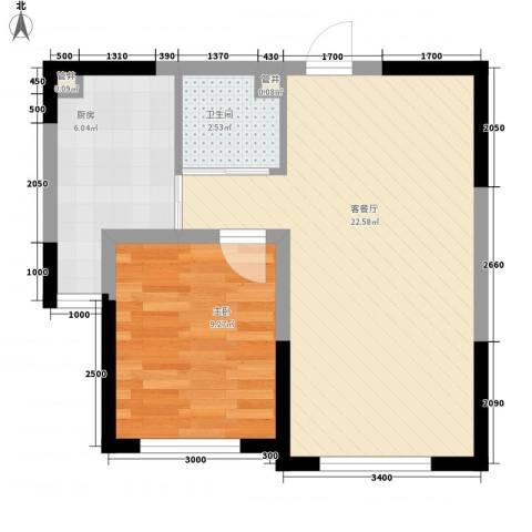蓝色港湾1室1厅1卫1厨63.00㎡户型图