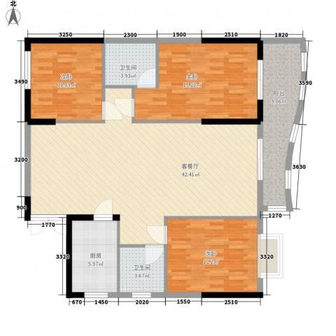 鑫泰丽都中央公馆3室1厅2卫1厨143.00㎡户型图