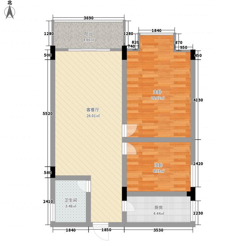 合水嘉园89.79㎡B户型2室2厅1卫1厨