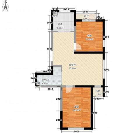 蓝色港湾2室1厅1卫1厨98.00㎡户型图