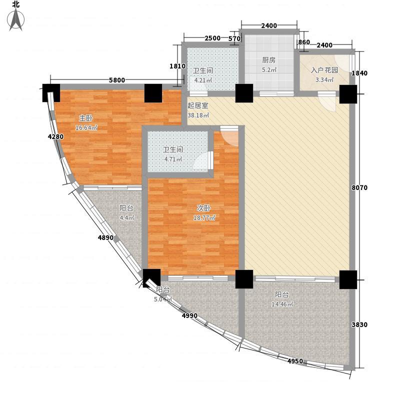 三亚湾海韵度假酒店148.80㎡A-2户型2室1厅1卫2厨