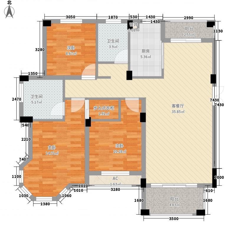 莱卡小镇136.30㎡二期多层10#楼B1户型3室2厅2卫