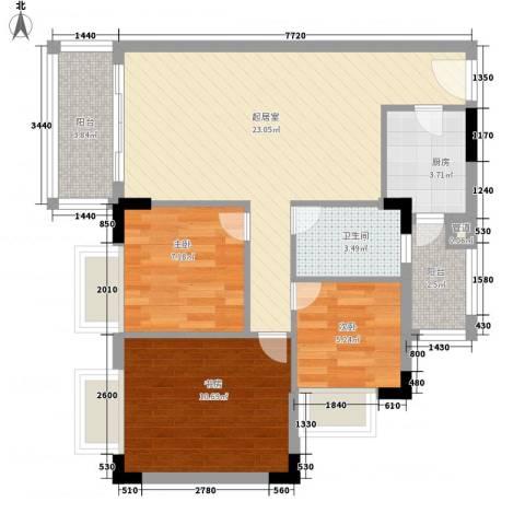 星城格调3室0厅1卫1厨86.00㎡户型图
