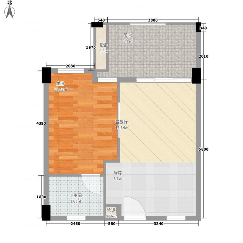 万科清林径60.00㎡万科清林径户型图公寓户型水牌1室1厅1卫1厨户型1室1厅1卫1厨
