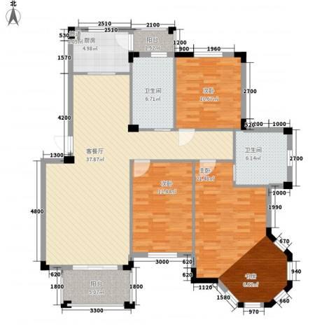 丰和新城二期3室1厅2卫1厨129.00㎡户型图
