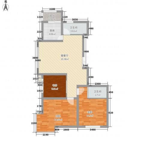 秋实e景二期3室1厅2卫1厨103.00㎡户型图