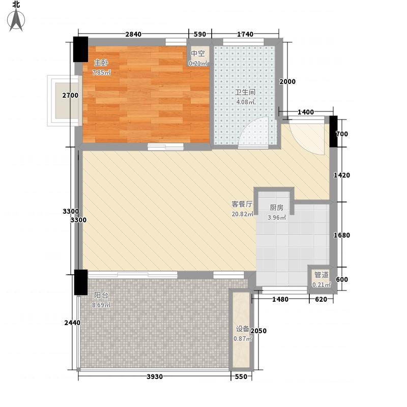 万科清林径60.00㎡万科清林径户型图公寓MA户型1室1厅1卫1厨户型1室1厅1卫1厨