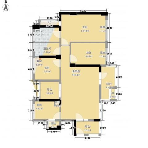 潜龙曼海宁二期3室1厅2卫1厨95.20㎡户型图
