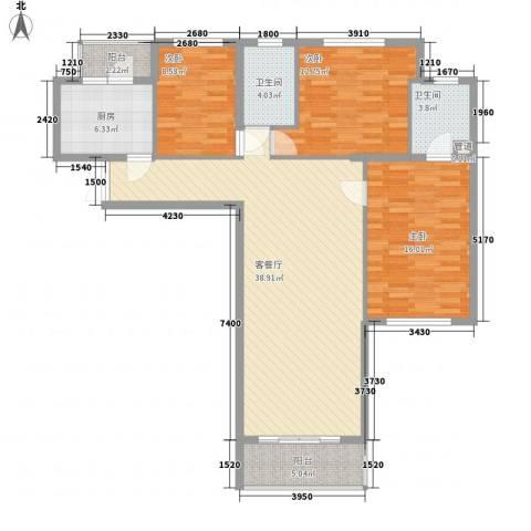 东方剑桥3室1厅2卫1厨139.00㎡户型图