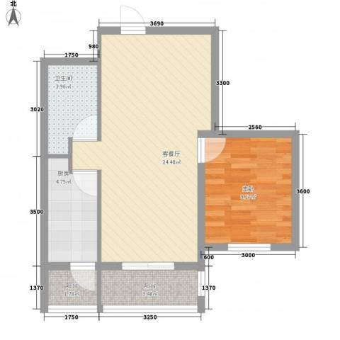 金域名邸1室1厅1卫1厨70.00㎡户型图