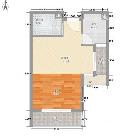 万达西双版纳国际度假区1卫1厨48.00㎡户型图